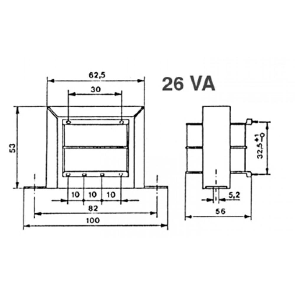 TRANSFORMATEUR CHASSIS 26VA 2X12V