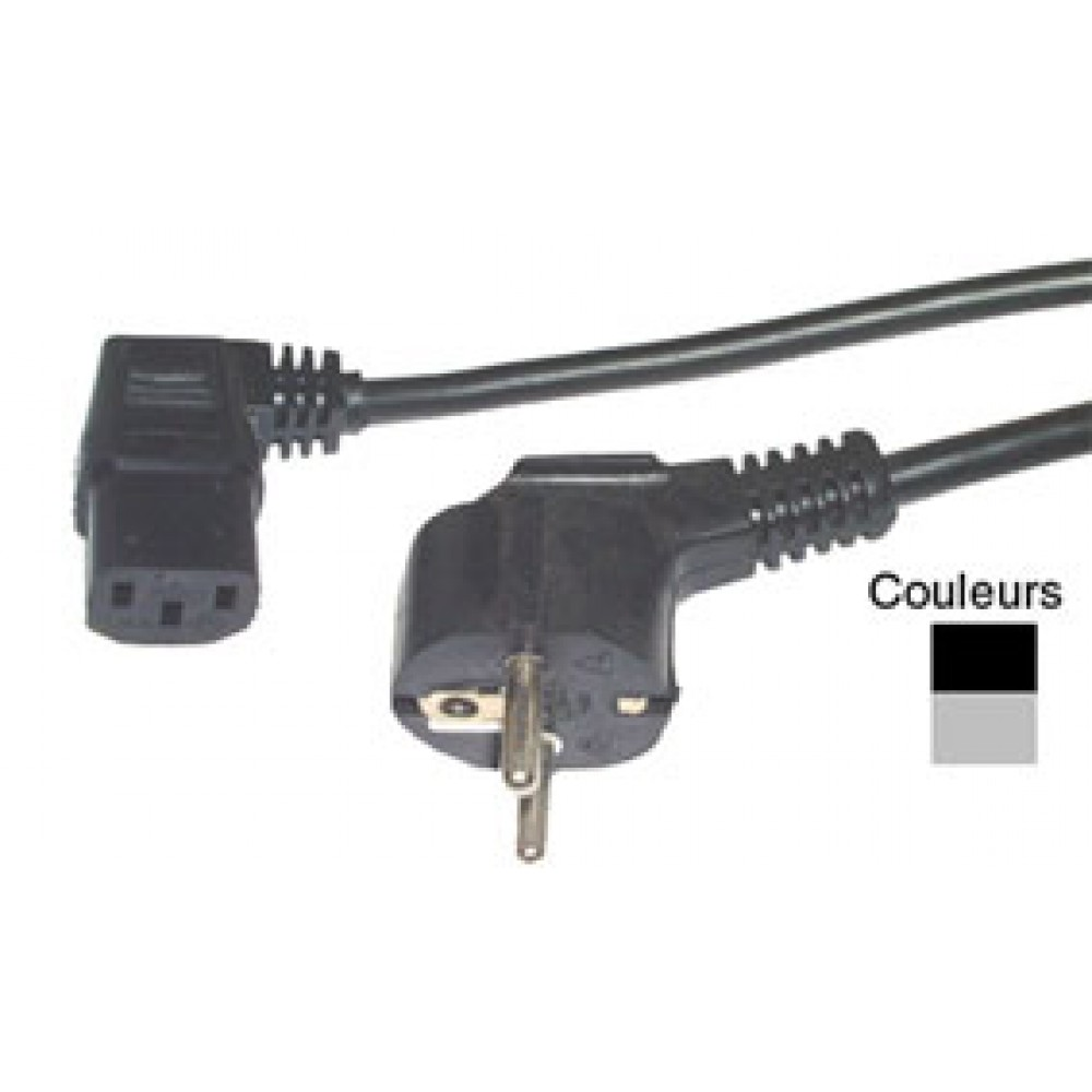 CORDON SECTEUR IEC COUDE 2P+T 1,5M NOIR