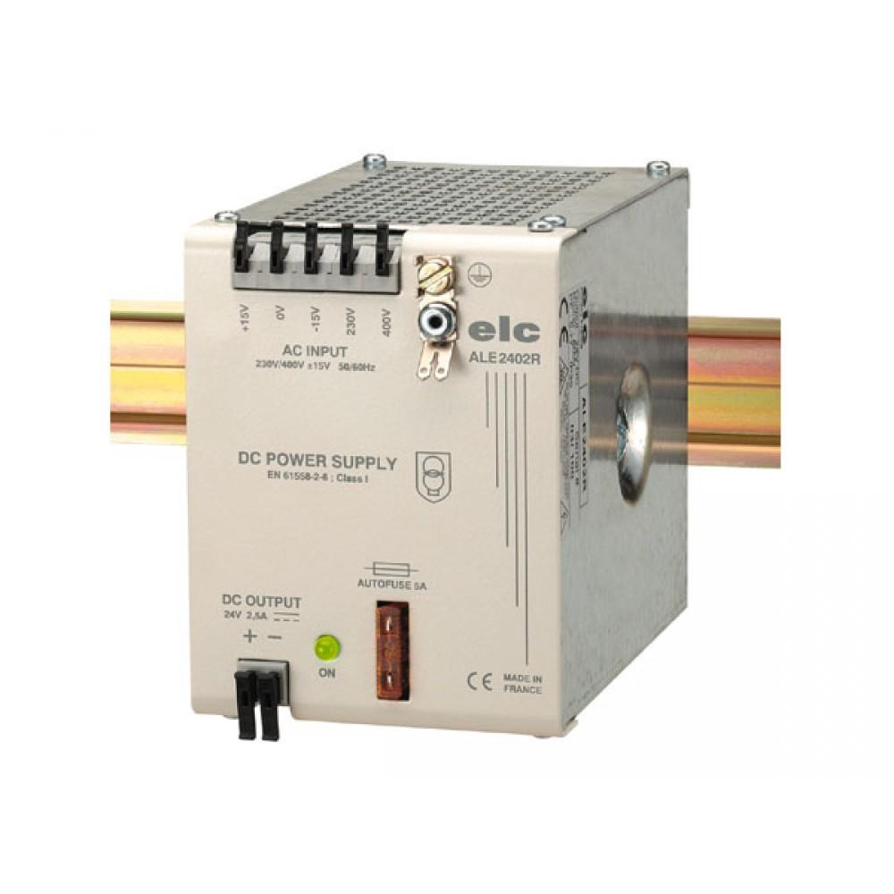 ALIMENTATION REDRESSEE FILTREE 24V 2A5 - PRIM 230 OU 400V FIXATION DIN